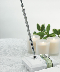 Celtic Charm White and Green Irish Wedding Pen Set