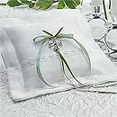 Celtic Charm Square White Wedding Ring Bearer Pillow
