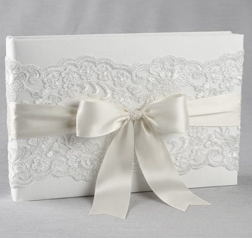 chantilly lace wedding guest book