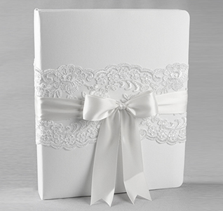 White and Ivory Chantilly Lace Wedding Memory Book