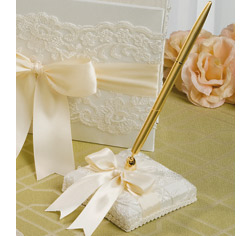 White and Ivory Chantilly Lace Wedding Guest Book Pen Holder Set
