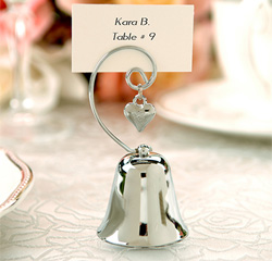 Charming Silver Bell with Dangling Heart Charm Wedding Table Numbers, Picture or Place Card Holders