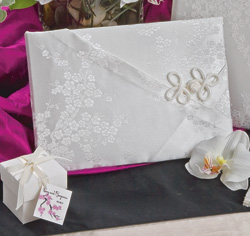 Cherry Blossom White Silk Wedding Guest Book and Pen Holder Set