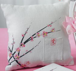 Cherry Blossom White Wedding Ring Bearer Pillow
