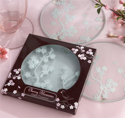 Cherry Blossoms Frosted Wedding Favor Glass Coasters