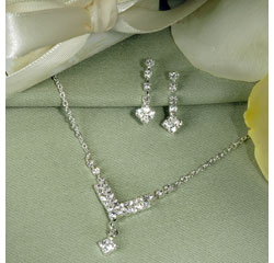 Chevron Wedding Rhinestone Jewelry Set Necklace and Earrings
