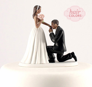 a cinderella moment bride groom cake top dark skin tone