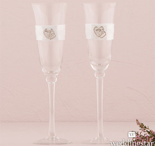Classic Double Heart Toasting Flutes Set Bride and Groom Wedding Glasses