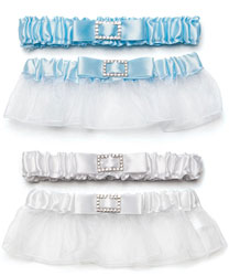 Something Blue or White Classic Wedding Garter and Tossing garter Set with Buckle
