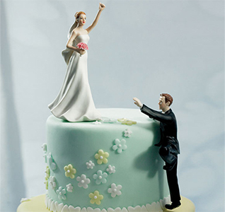 Climbing Groom Cake Topper and Victorious Bride Wedding Cake Topper