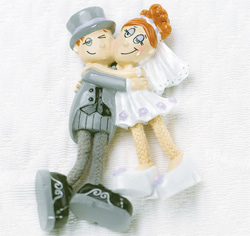 Dangly Leg Comical Bride & Groom Magnet Wedding Favors