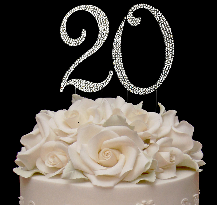 Completely Covered Swarovski Crystal Number Cake Topper Number