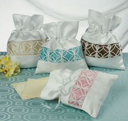 Contemporary Charm White Wedding Money Bag with Blue, Yellow, Brown, Pink