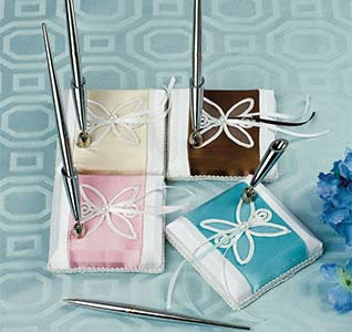 Contemporary Charm White and Pink, Blue, Brown, or Yellow Wedding Guest Book and Pen Set