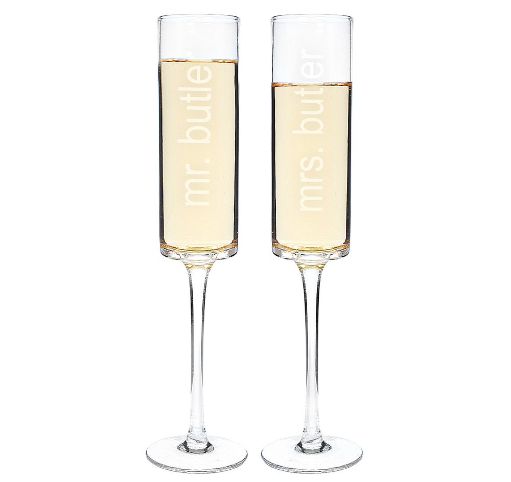 Contemporary Champagne Flutes | Wedding Toasting Flutes