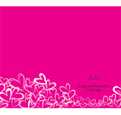 Contemporary Hearts Personalized Wedding Bulletin in Fuchsia Pink