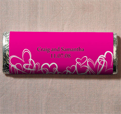 Contemporary Hearts Personalized Chocolate Bar Wedding Favor in Fuchsia Pink