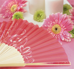 Contemporary Hearts Hand Fans Pink Wedding Favors