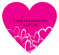 Contemporary Hearts Personalized Heart Shapped Wedding Favor Sticker in Fuchsia