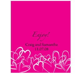 Contemporary Hearts Personalized Rectangular Wedding Label in Fuchsia