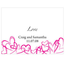 Contemporary Hearts Personalized Wedding Note Cards in Fuchsia