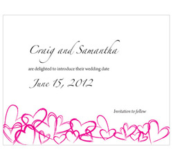 Contemporary Hearts Personalized Wedding Invitations Save The Date Cards in Fuchsia Hot Pink
