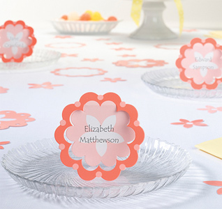 Coral Flower Name Place Cards