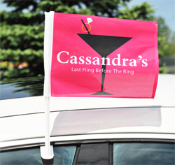 Personalized Cosmopolitan Bachelorette Wedding Party Car Window Flag