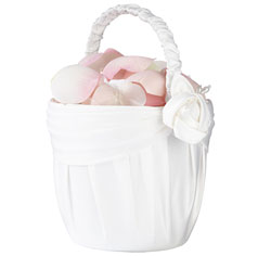 Cream Rose Flower Girl Basket