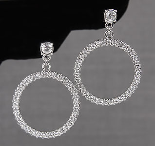 Clear Crystal/Rhinestone Circle Dangle Earrings