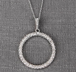 Clear Crystal/Rhinestone Circle Pendant on Chain Necklace