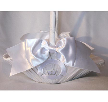 Crystal Claddagh Large White Flower Girl Basket for Wedding