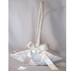 Crystal Claddagh Small White Flower Girl Basket for Wedding