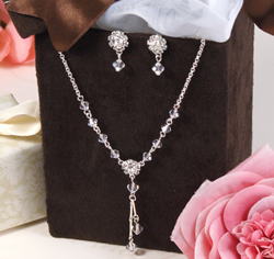 Crystal Drop Jewelry Set Drop Necklace and Dangle Earrings