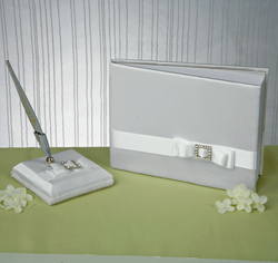 White and Rhinestone/ Crystal Elegance Wedding Guest Book