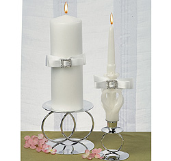 White or Ivory Rhinestone/ Crystal Elegance Wedding Pillar Unity Candle