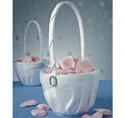 Crystal Eternity White or Ivory Wedding Flower Girl Basket