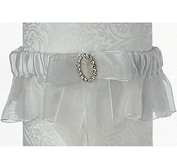 Clear Crystal/ Rhinestone Eternity White Bridal Wedding Garter