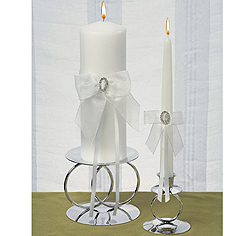 Rhinestone/ Crystal Eternity White Wedding Pillar Unity Candle and Tapper Set