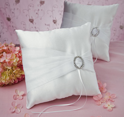Rhinestone/ Crystal Eternity White Wedding Ring Bearer Pillow