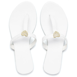 Crystal Gold Heart White T-Strap Sandal for Wedding or Honeymoon
