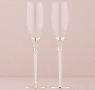 Crystal Stones Bride and Groom Wedding Toasting Flutes