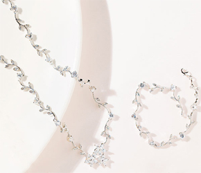 Cubic Zirconia Clusters with Vine Necklace