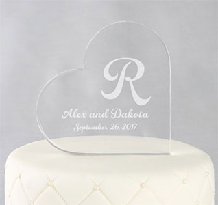 Heart Initial Custom Wedding Cake Topper