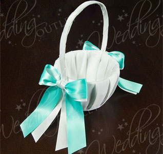 White or Ivory and Custom Color Ribbon Wedding Flower Girl Basket