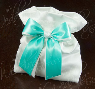 White or Ivory and Custom Color Ribbon Wedding Money Bag Purse