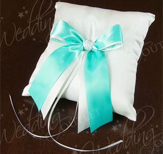 Custom Color Ivory and Green Wedding Ring Bearer Pillow