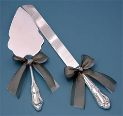 White or Ivory and Custom Color Ribbon Wedding Cake Knife and Serving Set