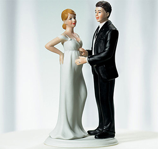 Custom Expecting Pregnant Bride Couple Wedding Cake Topper Figurines