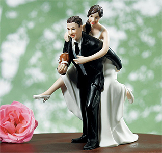 Custom Playful Football Couple Wedding Cake Topper Figurines